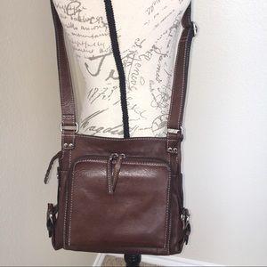 FOSSIL Leather Cross Body Organizer Purse Bag EUC